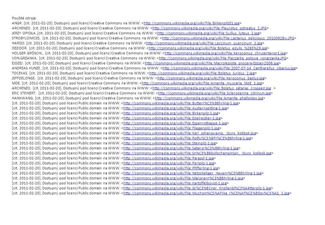 Použité zdroje ANGR. [cit. 2011-02-20]. Dostupný pod licencí Creative Commons na WWW: <http://commons.wikimedia.org/wiki/File:Birkenpilz01.jpg>